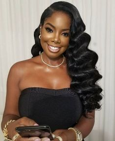 Black bridal wedding day hairstyles for relaxed or natural hair. Hollywood curls on black women. Loose curls hairstyles for black women Hollywood curls in black women Black Brides Hairstyles, Black Bridesmaids Hairstyles, Bride Hairstyles, Weave Hairstyles, Cool Hairstyles, Natural Wedding Hairstyles, Homecoming Hairstyles, Party Hairstyles, Formal Hairstyles