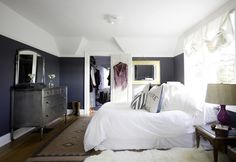 navy and white bedroom | tiffany wendel house tour via coco+kelley