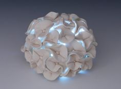 SALE White Pottery Tea Light Holder - Wedding Gift Idea  Decorative Art  Porcelain  Ceramic Sculpture Hydrangea Modern