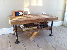 Attrayant Industrial Wood U0026 Steel Media Stand Or Coffee Table, Reclaimed Barnwood  With Industrial Pipe Legs