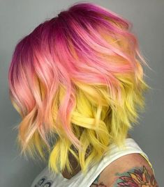 coolest hairs color trends in trendy hairstyles … ombre yellow hair colors; coolest hairs color trends in trendy hairstyles and colors women hair colors; Yellow Hair Color, Ombre Hair Color, Hair Color Balayage, Cool Hair Color, Purple Hair, Hair Colors, Pink Yellow, Pulp Riot Hair Color, Brown Ombre Hair