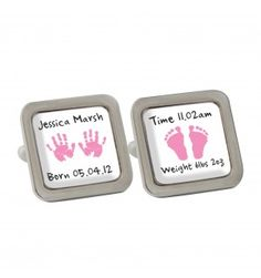 Pink Hand and Foot Print Cufflinks   Cufflinks   Exclusively Personal