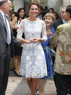 The Duchess of Cambridge looked cool and collected in British designer Alice Temperley's polite pale blue frock