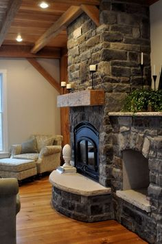 Beautiful stone work and love the wood ceiling