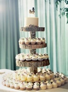 love bird cakes on log cake stand