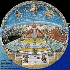 The Mayans conceived of the earth as a flat and four cornered, each angle at a cardinal point which had a color value. Red for east, white for north, black for west, and yellow for south.