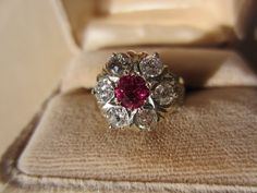 Shop Special! Wonderful Antique Diamond and Ruby Cluster Ring in 14K from antiquesforyou on Ruby Lane