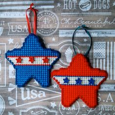 """Plastic Canvas: Red, White and Blue Star Ornaments (set of 2) -- """"Ready, Set, Sew!"""" by Evie"""