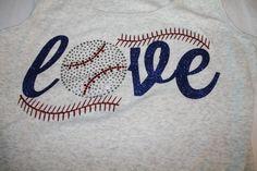 LOVE Glitter and Bling Baseball or Softball by SpunkySparkles