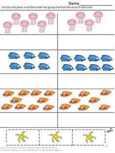 Counting Ocean Creatures Cut and Paste, Pre-K, K, Special Education- The Ocean is a fascinating place for young and old alike. This Counting...