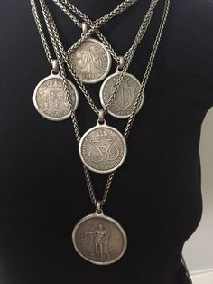 Old Silver Coin Necklace European Coin Jewelry Wheat Chain Antique Silver Handmade Replica Anniversary Gift for Him or Her Old Silver Coins, Antique Coins, Antique Silver, Antique Jewelry, Vintage Jewelry, Coin Jewelry, Coin Necklace, Beaded Jewelry, Handmade Jewelry