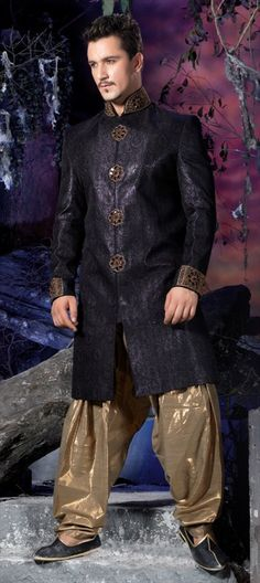 11377, IndoWestern Dress, Banarasi, Jamawar, Stone, Border, Bugle Beads, Machine Embroidery, Cut Dana, Black and Grey Color Family