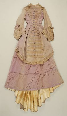 Dress   Date: ca. 1871  Culture: American  Medium: silk  Dimensions: Length at CB (a): 30 1/2 in. (77.5 cm) Length at CB (b): 61 1/2 in. (156.2 cm)  Credit Line: Gift of The New York Historical Society, 1979  Accession Number: 1979.346.116a, b