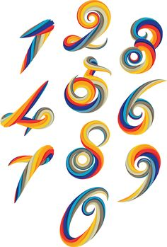 Fully focus to execute the challenging concept of making the numbers in 2d but with a 3d dimension. After did lots of tests to visualise the final outcome and then  develop it, here is the result. A 2.5 numerology twisted and colorful. Typography Inspiration, Graphic Design Inspiration, Daily Inspiration, Typography Prints, Lettering Design, Typography Letters, Hand Lettering, Spanish Artists, Artist At Work
