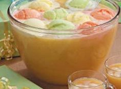Tangy Party Punch Recipe...maybe 7up or sprite instead of ginger ale.