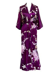 Old Shanghai Women's Kimono Long Robe - Chrysanthemum & Crane (Aqua) One Size Fits Most Long Kimono Cardigan, Oasis Dress, Liliana, Midi Skater Dress, Silk Kimono, Classy Outfits, Girly Outfits, Satin Dresses, Lounge Wear