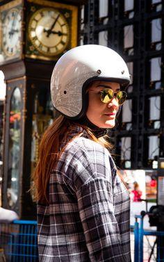 VOSS Black Genuine fiberglass 501 Bobber Women/'s school open face Helmet S
