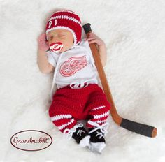 DETROIT RED WINGS Pacifier & Crocheted Baby Hockey Hat, Pants, Socks and Skates Set with Players Number Size Newborn/ 0-3 Months on Etsy, $104.86 CAD