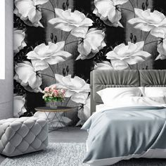 Black And White Flowers, Black And White Wallpaper, Wallpaper Decor, Wallpapers, Home, Ad Home, Wallpaper, Homes, Haus