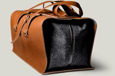 Tan brown designer leather and wool travel bag. Handmade in Italy.