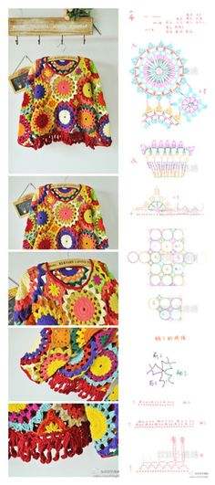 Instructions for a cute crochet top. Would probably shake up the colours a bit, but it's gorgeous! Poncho Au Crochet, Crochet Bolero, Mode Crochet, Crochet Wool, Crochet Jacket, Crochet Diagram, Freeform Crochet, Crochet Blouse, Crochet Chart