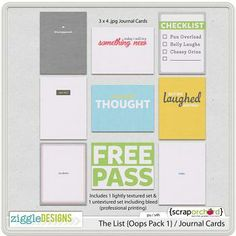 The List {Oops Pack 1} / Journal Cards
