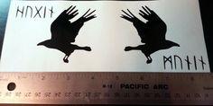 Huginn and Muninn with Runes Vinyl Decal Sticker by tinydynamine Logan Tattoo, Raven Tattoo, I Tattoo, Viking Raven, Map Tattoos, New Years Eve Party, Body Mods, Tattoo Designs, Tattoo Ideas