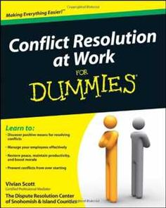 A practical workplace guide to handling conflict effectively.    Managing employees and encouraging them to work together toward a common goal is an essential skill that all leaders should possess. Conflict Resolution at Work For Dummies provides the tools and advice you need to restore peace, train your colleagues to get along better with others, prevent conflicts from ever starting, and maintain better productivity while boosting morale.