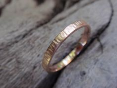 Tree bark effect rose gold band