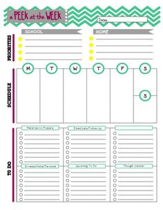 Organize your week with this Peek at the Week sheet