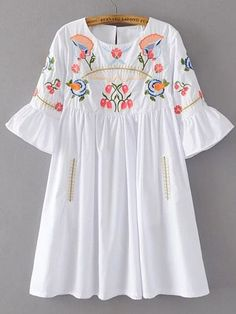 Bell Sleeve Flower Embroidery Dress Embroidery Dress, Simple Dresses, Dresses With Sleeves, Hijab Fashion, Boho Fashion, Fashion Outfits, Trending Outfits, Blouse Designs, Designer Wear