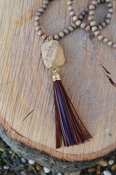 Bohemian Tide Necklace :: $20 :: Groovys.com :: oxblood tassel accent, sandstone pendant, long necklace