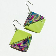 #funky summer earrings #unique polymer clay earrings #quirky lime earrings #colourful earrings