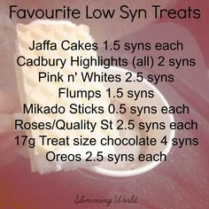 My Favourite Low Syn Treats Slimming World Sweets, Slimming World Syn Values, Slimming World Tips, Slimming Word, Slimming World Recipes Syn Free, Syn Free Food, Syn Free Snacks, Low Syn Treats, Sw Meals