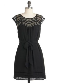 Lacking Nothing Dress - Mid-length, Black, Solid, Cap Sleeves, Belted, Sheer, Party, Sheath / Shift, Trim