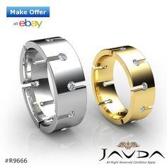 8mm Mens Eternity Wedding Band Bezel Round Diamond Ring 14k White & Yellow Gold 0.50Ct