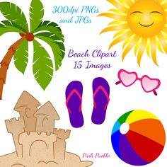 Beach Clipart Clip Art, Ocean Summer Vacation Clipart Clip Art - Commercial and Personal Use. $6.00, via Etsy.