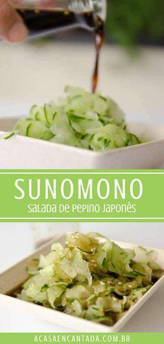 Como fazer Sunomono - a Casa Encantada | Receita de salada de pepino japonês. Uma saladinha agridoce que é leve e refrescante. O molho é feito com shoyu, açúcar, vinagre de arroz e semente de gergelim. Um acompanhamento saudável e refrescantes para servir no almoço ou jantar. Uma delícia e vegana! Para o passo a passo completo, acesse o post! #sunomono #receita #salada #pepino #agridoce #acasaencantada Chef Recipes, Vegan Recipes, Cooking Recipes, Food Net, Slow Food, Going Vegan, Food And Drink, Ethnic Recipes, Tempura