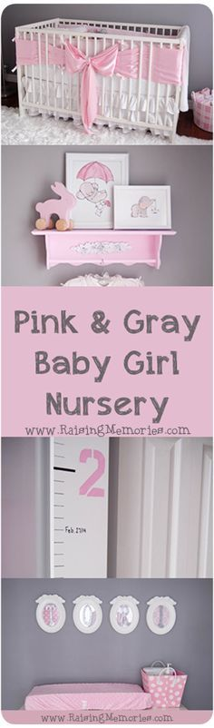 Pink and Gray Baby Girl's Nursery. Get room decor tips and ideas- where to buy, and how to make all of these items! www.RaisingMemories.com DIY
