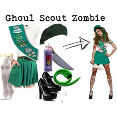 """Ghoul Scout Zombie Adult Womens Halloween Costume"" by sljohn84 on Polyvore"