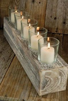 rustic wood and candle centerpiece. Dollar store candle holders, maybe torch and stain wood. Candle Centerpieces, Diy Candles, Wedding Centerpieces, Table Wedding, Centerpiece Ideas, Wedding Decor, Rustic Wood, Rustic Decor, Farmhouse Decor