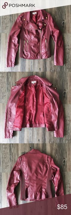 Faux leather jacket Brand new without tags! This luxe faux leather beauty was purchased in Barcelona. Marked as a M, but runs small; would best fit a size S. The dark, bold red of this jacket is accented with gold hardware. Absolutely gorgeous! Jackets & Coats