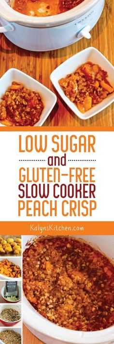 Low-Sugar and Gluten-Free Slow Cooker Peach Crisp is really a treat! [found on…
