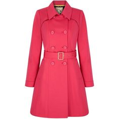 Yumi Classic Trench Coat (985 HRK) ❤ liked on Polyvore featuring outerwear, coats, pink, sale, pink waist belt, pink double breasted coat, double breasted trench coat, double-breasted coat und pink coat