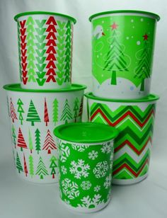 New Tupperware Holiday Christmas Trees Snowflake One Touch Canister 5 pc Set