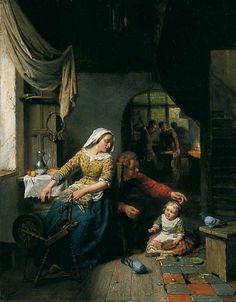 """Cottage Interior"", 1861 by Reinier Craeyvanger (1812-1880) The Mercer Art Gallery, Harrogate"