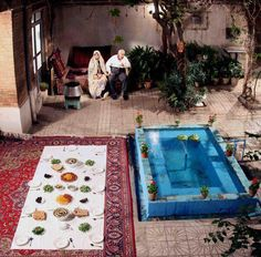 Sofreh in the yard, old Persian houses. Nostalgia.