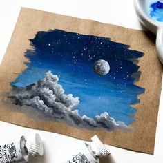 Hello you amazing peeps. Today I have a little treat for you guys. After seeing hundreds of requests for a process video on Gouache clouds… Paper Artwork, Watercolor Artwork, Watercolor Water, Gouache, Mini Canvas Art, Sad Art, Cute Art, Art Inspo, Painting & Drawing