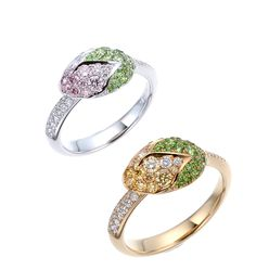 gimel / Tightly protected buds will unfold soon with the warmth of spring sunlight. The ring of colorful bud arouses ones imagination for the flower. [ Ring : from top/ 950 Platinum, Pink diamond, Diamond, Demantoid garnet / 18K Yellow gold, Yellow diamond, Diamond, Demantoid garnet ]