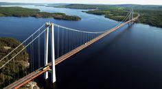 Höga Kusten Bridge, Kramfors/Härnösand,Sweden. Total length: 1 867 m. Longest span: 1 210 m. Height: 180 m. Clearance below: 40 m. Opened: 1997.